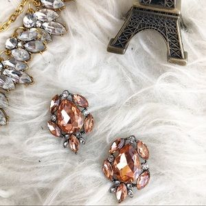 Jewelry - Statement rhinestone earrings orange
